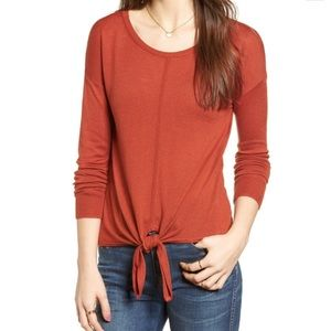 Madewell Modern Tie Front Thin Sweater Rust